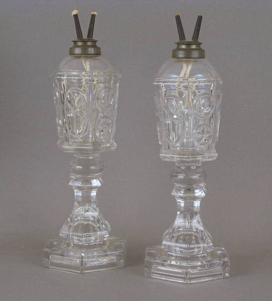 Pr. Early 19thc. Sandwich Glass Whale Oil Lamps